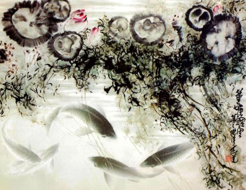 國畫《蓮塘鯉魚》讓我回憶起真實而神秘的情感(黃鐘鳴)