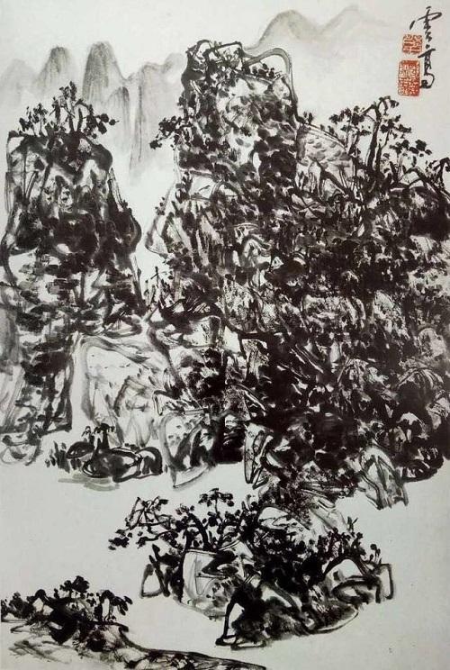 國畫《出江遠眺》看似渾樸自然,但筆墨章法卻壁壘森嚴(林泉)