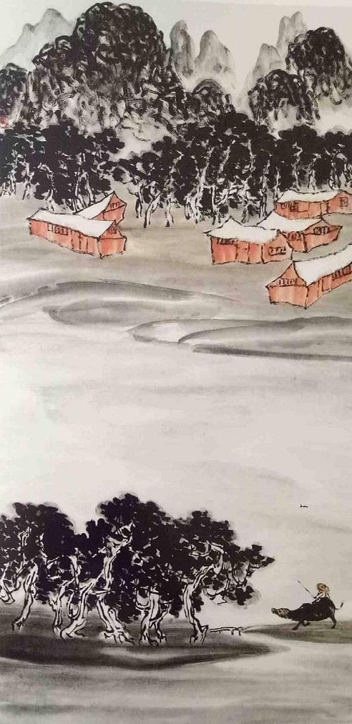 牧童恍然領悟,千百次走出歸來的家園,就在清淨無染的山水畫中(員嶠山樵)