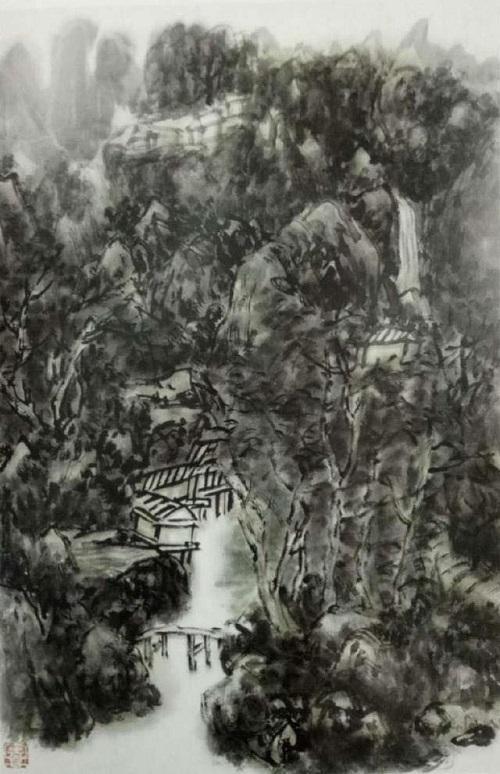 山水畫《暮近黃昏》有淡淡的夕陽默默殘照(聽風閣主)