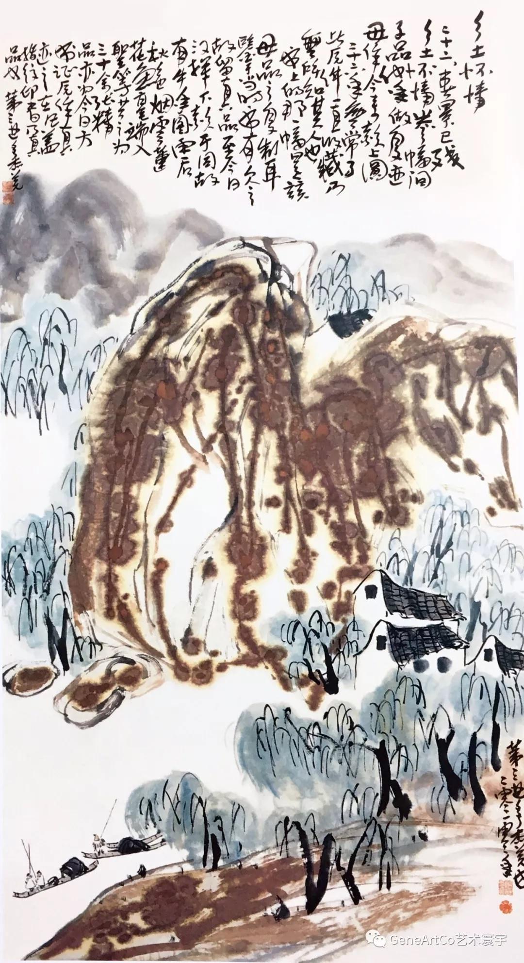 山水畫《秋山春回》的用筆行雲流水,看似好不著力,卻法度森嚴(傳曦)