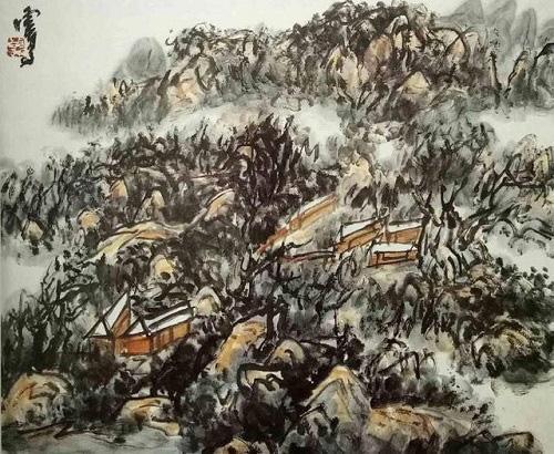 淡墨素筆下的山水畫《山居不須妖桃色,淡著清新自濃妝》(陌上春)
