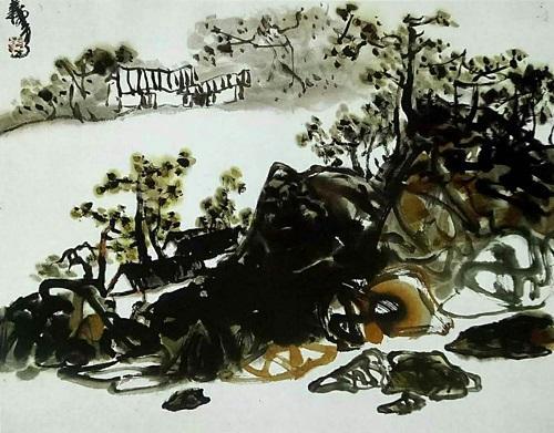 經典山水畫《夢丹娜山莊》的空間感具有強烈的前後對比(林泉)