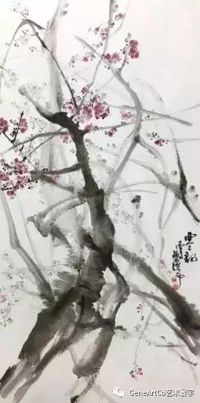 H.H.第三世多杰羌佛中國畫作品:霧裡紅杏