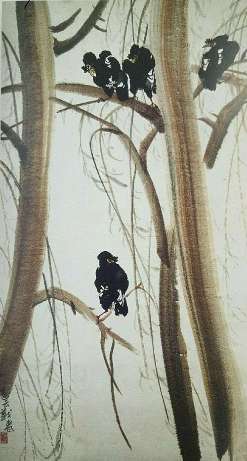 簡潔的國畫《八哥醉柳》產生了豐富奇異的視覺效果(秋)