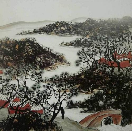 山水畫《雙寺圖》仿佛傳來陣陣美妙的梵唄音樂(柳溪)