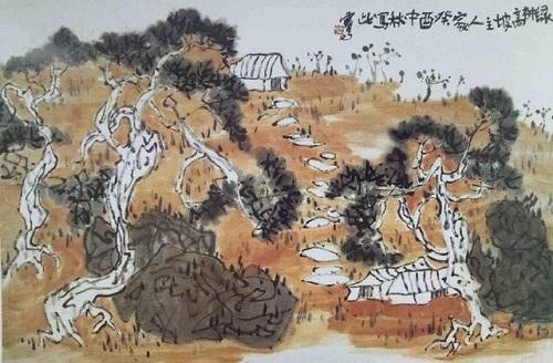 國畫《綠樹高坡有人家》節奏分明、和諧統一(菊山)