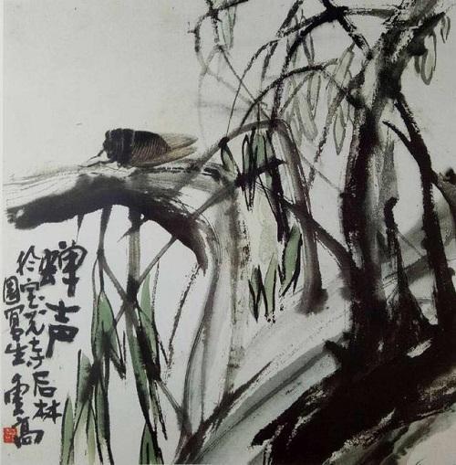 一隻蟬蝸居在樹幹上,歌唱著生命的尾聲,國畫《蟬聲》意味深長(蕭鳴)