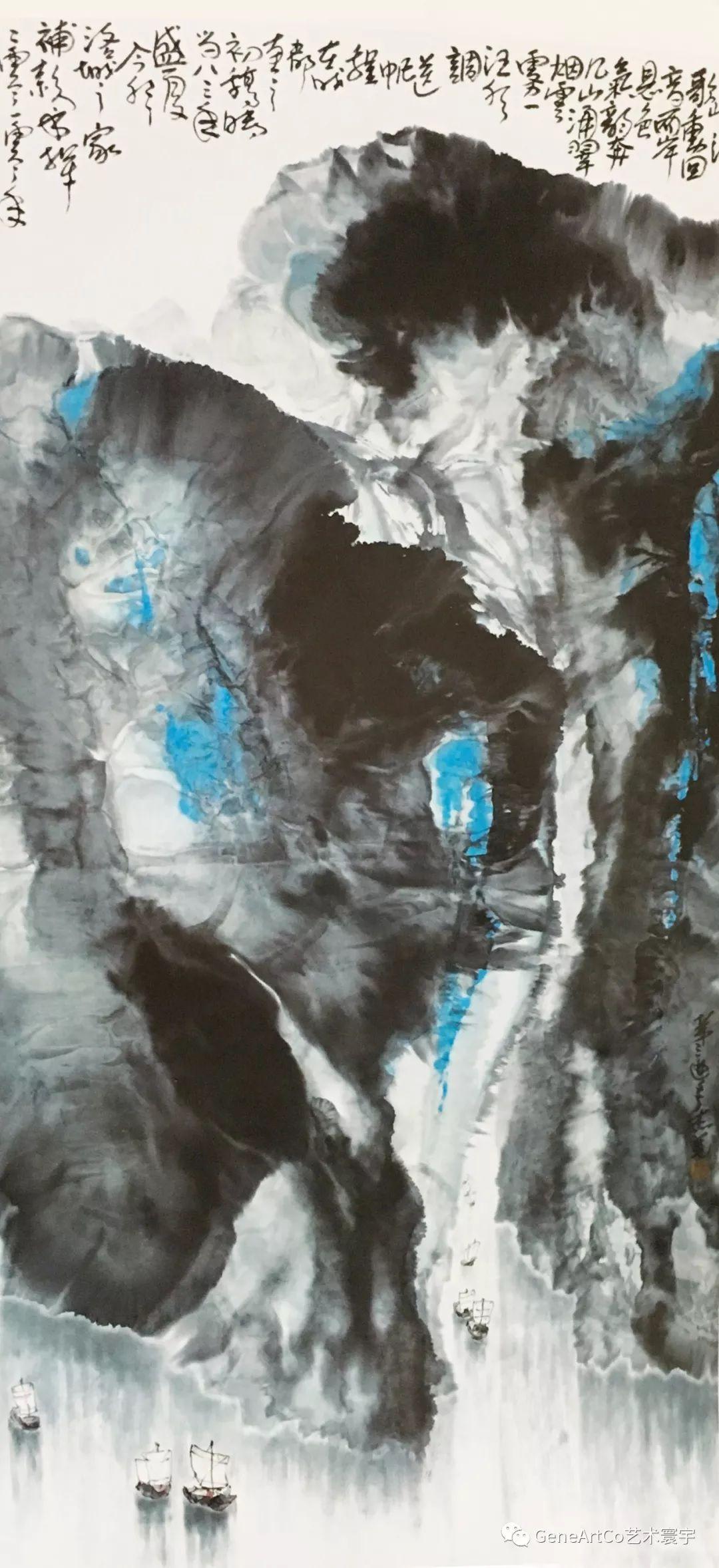 山水畫《三峽浪歌》在傳統的基礎上,力求突破已有的藝術形式(文山布衣)