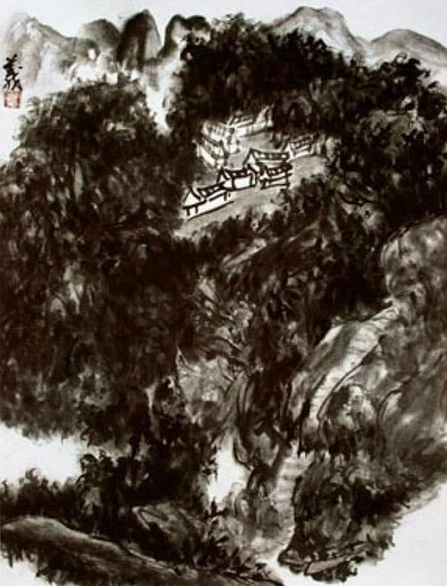 山水畫《高山一族》墨色處理精湛高妙,藝術格調高古清奇(沉墨)