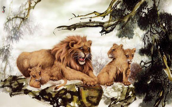 國畫《威震》的獅子吼聲讓妖魔鬼怪瑟瑟發抖,讓愚昧眾生快快醒來(黃鐘鳴)