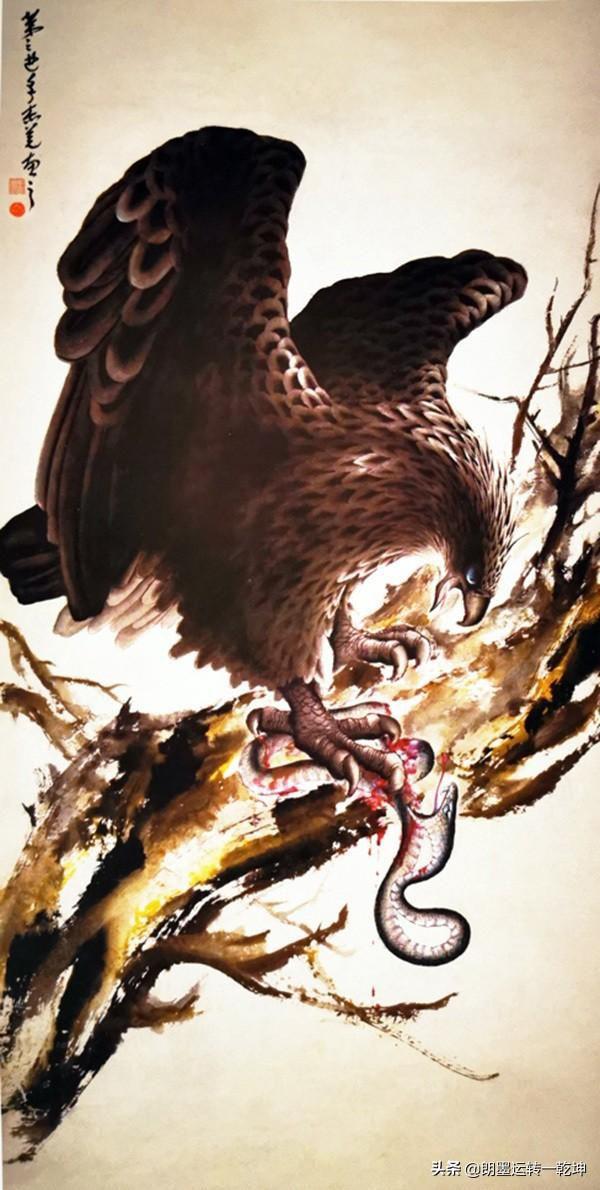從美學範疇和藝術角度看,國畫《鷹蛇鬥》是具有象徵主義的(良墨)