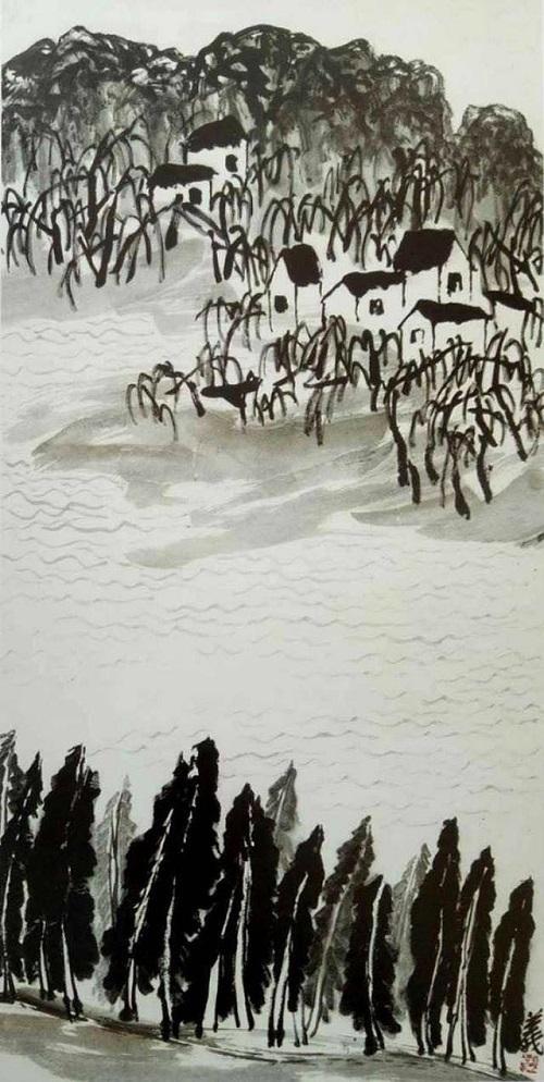 旋律與節奏在風中擺動——山水畫《柳蔭湖畔》的風景(方舟)
