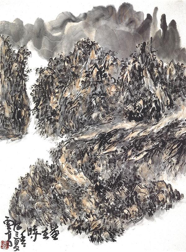 當我見到《熊耳山》這幅山水畫時,方領悟國畫理論知白守黑的義理(重光)
