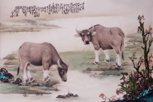 細膩深情的工筆劃刻畫兩隻牛的野趣(東山樵夫)