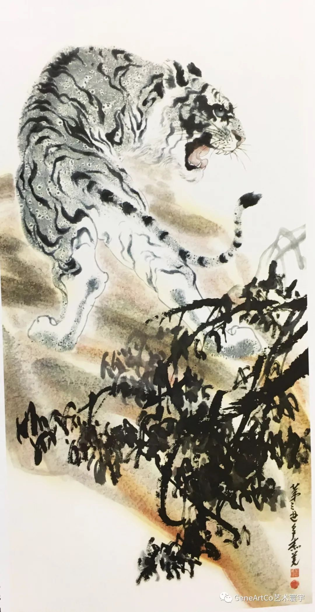 威風凜凜的老虎在山林間呼嘯---水墨畫《老虎》墨舟子