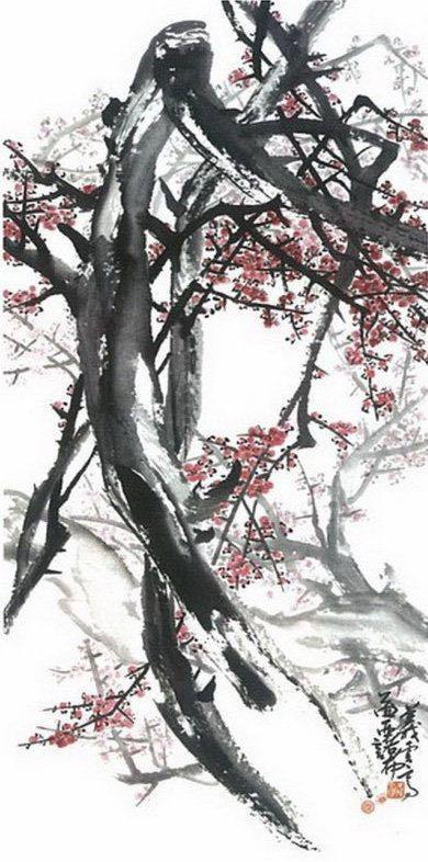 初春的梅花透出了春天的氣息,一幅《紅梅圖》更令人心曠神怡!(樵夫)