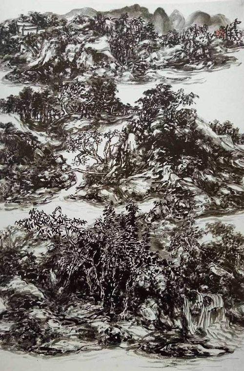 山水畫《煙霞丘壑》磅礴大氣,S形的構圖貫通整個畫面(淡然)