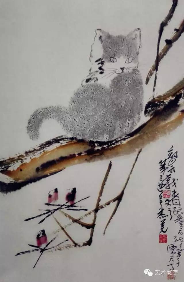 放發派風格國畫《靈貓》,毛髮的墨韻效果極其獨特(小星)