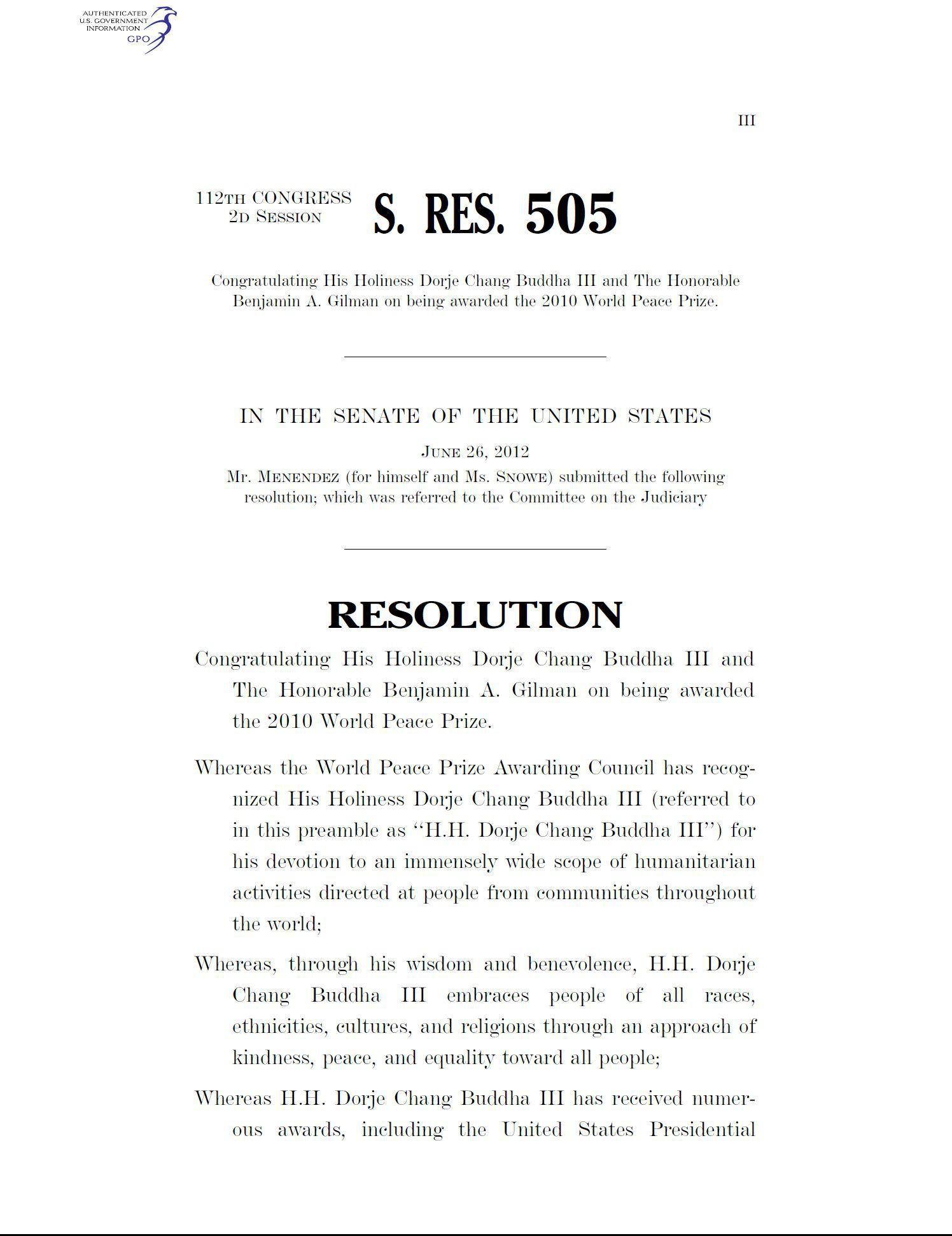 2012年6月26日美國參議院第505號議文祝賀H.H.第三世多杰羌佛獲頒2010年世界和平獎